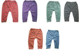 Rio Claro Baby Girl's Red, Black, Blue, Green, Orange, Purple Leggings Pack Of 6