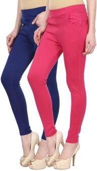 Skyline Trading Women's Blue, Pink Treggings Pack Of 2