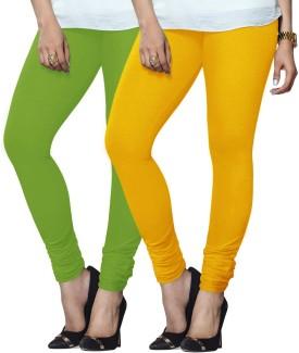 Lux Lyra Women's Light Green, Yellow Leggings Pack Of 2