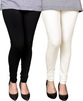 PAMO Women's Black, White Leggings Pack Of 2