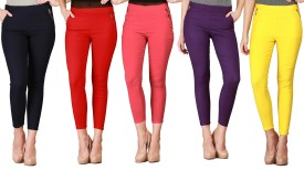 IKL Women's Purple, Yellow, Orange, Orange, Orange Jeggings Pack Of 5