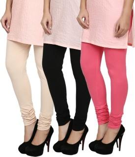 Fizzaro Women's Beige, Black, Pink Leggings Pack Of 3