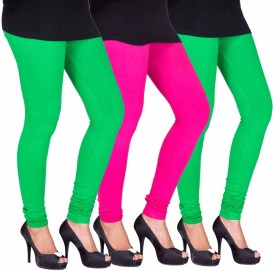 C&S Shopping Gallery Women's Green, Pink, Green Leggings Pack Of 3
