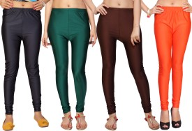 Comix Women's Black, Grey, Dark Green, Brown, Orange Leggings Pack Of 4