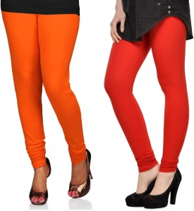 Sareegalaxy Women's Orange, Red Leggings Pack Of 2