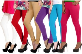 Ngt Women's White, Red, Beige, Purple, Light Blue, Pink Leggings Pack Of 6
