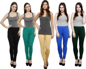 Pistaa Women's Black, Green, Beige, Light Blue, Dark Green Leggings Pack Of 5