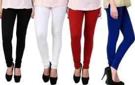 S Redish Women's, Girl's Black, White, Blue, Red Leggings Pack Of 4