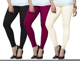 Lux Lyra Women's Black, Pink, Beige Leggings Pack Of 3