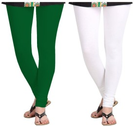 Roshni Creations Girl's, Women's Green, White Leggings Pack Of 2