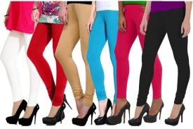 Ngt Women's White, Red, Beige, Light Blue, Black, Pink Leggings Pack Of 6
