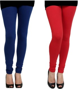 Elevate Women Women's Red, Blue Leggings Pack Of 2