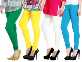 NGT Women's Green, Yellow, White, Light Blue Leggings Pack Of 4