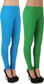 Stylishbae Women's Blue, Light Green Leggings Pack Of 2