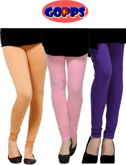 Gopps Women's Beige, Pink, Purple Leggings Pack Of 3