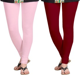 Aannie Women's Pink, Maroon Leggings Pack Of 2