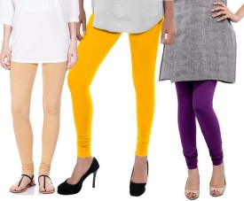 Sampoorna Collection Women's Beige, Yellow, Purple Leggings Pack Of 3