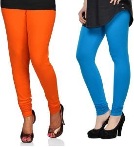 SareeGalaxy Women's Orange, Dark Blue Leggings Pack Of 2