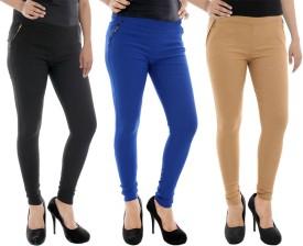 Paulzi Women's, Girl's Black, Blue, Beige Jeggings Pack Of 3