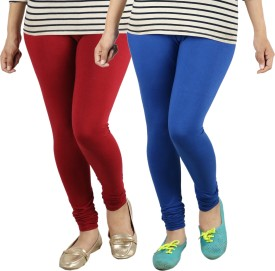 Radha's Women's Red, Blue Leggings Pack Of 2
