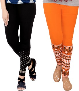 T-BRO'S Enterprises Women's Black, Orange Leggings Pack Of 2