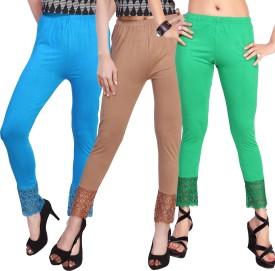 Comix Women's Light Blue, Brown, Beige, Light Green Leggings Pack Of 3