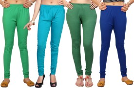 Comix Women's Green, Blue, Green, Blue Leggings Pack Of 4