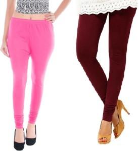 Colors More Women's Pink, Maroon Leggings Pack Of 2