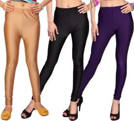 Comix Women's Beige, Black, Purple Leggings Pack Of 3