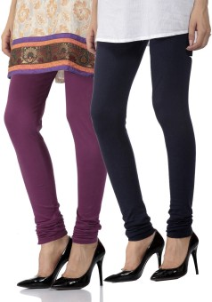Fab Fashion Women's Purple, Dark Blue Leggings Pack Of 2