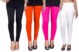 C&S Shopping Gallery Women's Black, Orange, Pink, White Leggings Pack Of 4