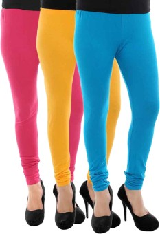 Paulzi Women's Blue, Pink, Yellow Leggings Pack Of 3