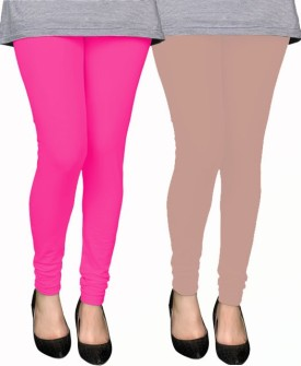 PAMO Women's Pink, Gold Leggings Pack Of 2