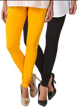 Fasense Women's Yellow, Black Leggings Pack Of 2