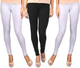 Sampoorna Collection Women's Black, White, White Leggings Pack Of 3