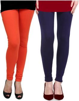 Gopps Women's Orange, Dark Blue Leggings Pack Of 2