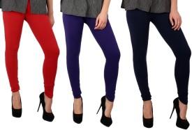 Sparkle Women's Red, Purple, Dark Blue Leggings Pack Of 3
