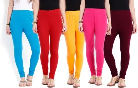 Ten On Ten Women's Blue, Red, Maroon, Pink, Yellow Leggings Pack Of 5