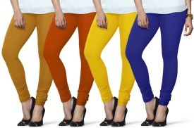 Lux Lyra Women's Yellow, Yellow, Yellow, Dark Blue Leggings Pack Of 4