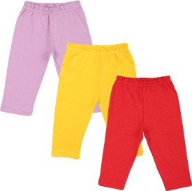 Color Fly Baby Girl's Purple, Red, Yellow Leggings Pack Of 3