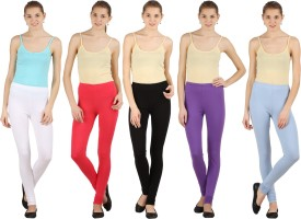 Silvio Women's Light Blue, Pink, White, Black, Purple Leggings Pack Of 5
