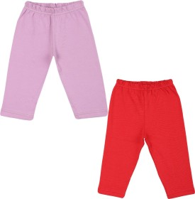Color Fly Baby Girl's Purple, Red Leggings Pack Of 2