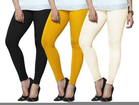 Lux Lyra Women's Black, Yellow, Beige Leggings Pack Of 3