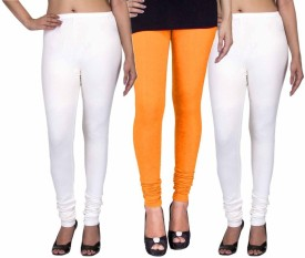Fashion Flow+ Women's White, Yellow, White Leggings Pack Of 3