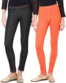 Softwear Women's Black, Orange Jeggings Pack Of 2