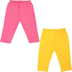 Color Fly Baby Girl's Pink, Yellow Leggings Pack Of 2