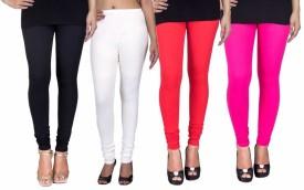 C&S SHOPPING GALLERY Women's Black, White, Red, Pink Leggings Pack Of 4