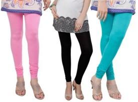 Bembee Women's Light Blue, Black, Pink Leggings Pack Of 3