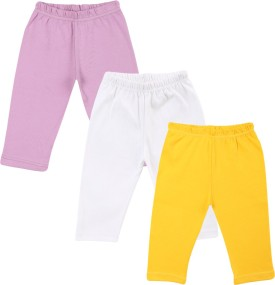 Color Fly Baby Girl's Purple, White, Yellow Leggings Pack Of 3