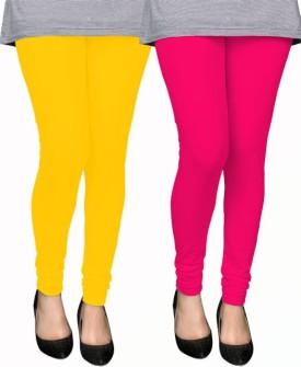 PAMO Women's Yellow, Pink Leggings Pack Of 2